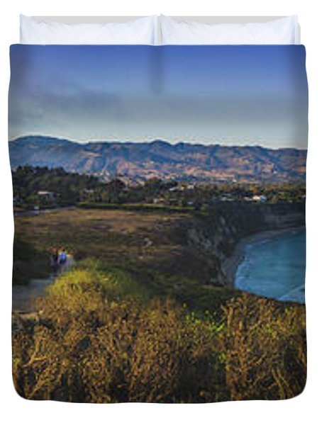 Point Dume Sunset Panorama Duvet Cover