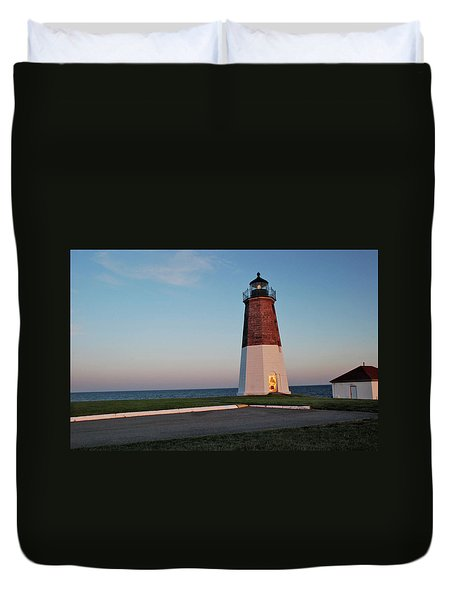 Point Judith Lighthouse Rhode Island Duvet Cover by Nancy De Flon