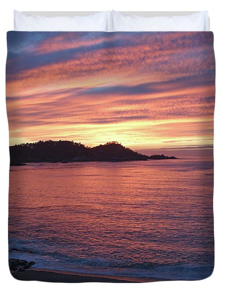 Point Lobos Red Sunset Duvet Cover