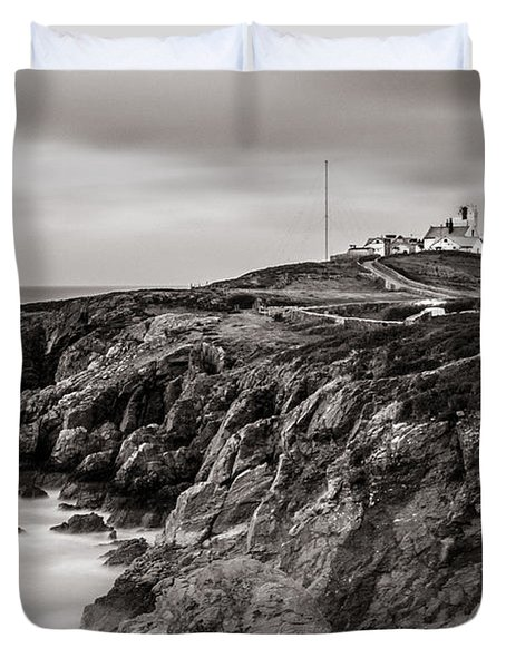 Point Lynas Lighthouse In Llaneilian On Anglesey Duvet Cover