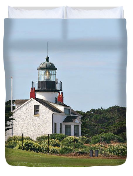 Point Pinos Light - Lighthouse On The Golf Course - Pacific Grove Monterey Central Ca Duvet Cover by Christine Till