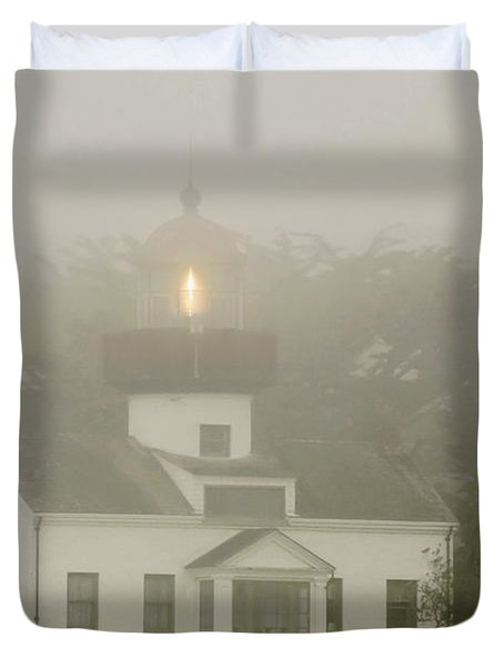 Point Pinos Lighthouse In A Foggy Night - Pacific Grove Monterey Central Ca Duvet Cover by Christine Till