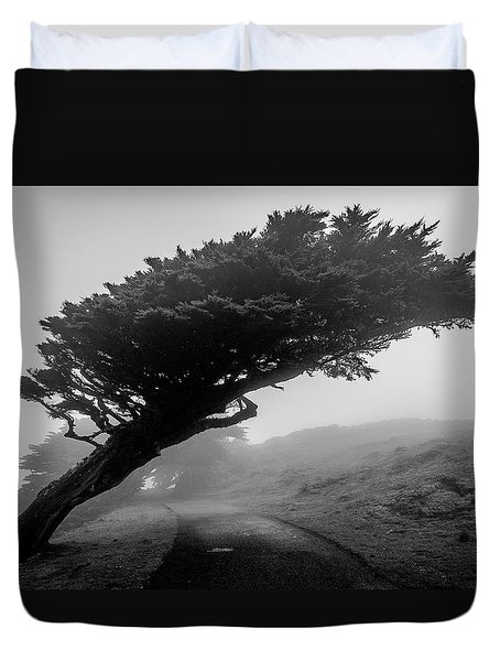 Point Reyes Fog Black And White Duvet Cover