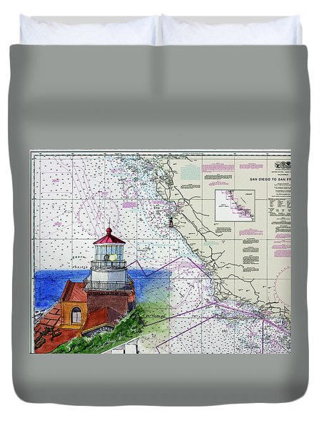 Point Sur Light Station Duvet Cover by Mike Robles