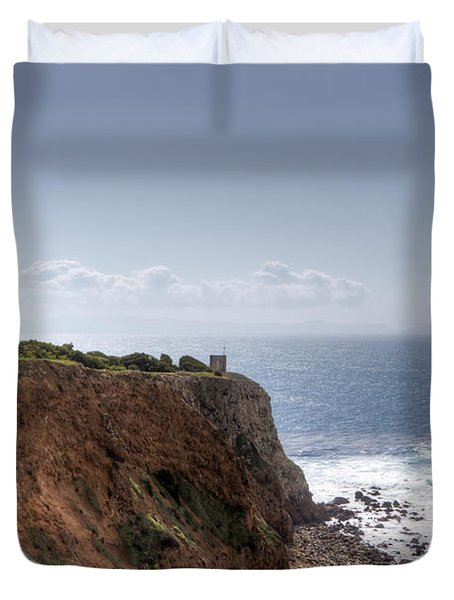 Point Vicente Lighthouse In Winter Duvet Cover by Heidi Smith