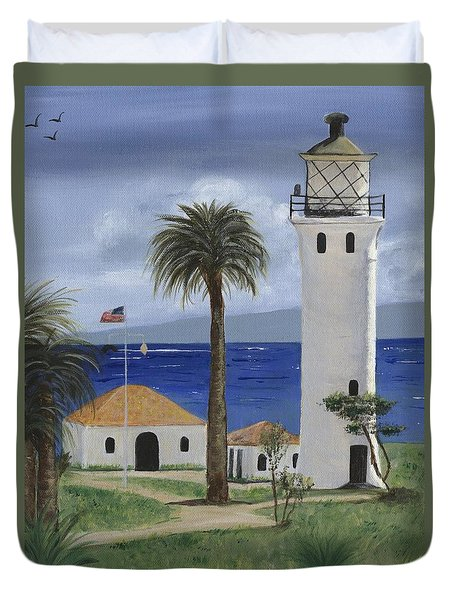 Point Vicente Lighthouse Duvet Cover by Jamie Frier