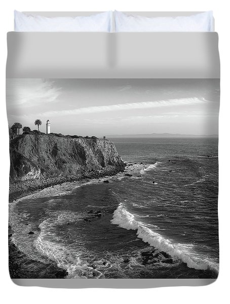 Point Vicente Lighthouse Palos Verdes California - Black And White Duvet Cover