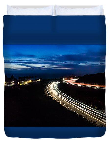 Point Vincente Light Trails Duvet Cover by Ed Clark