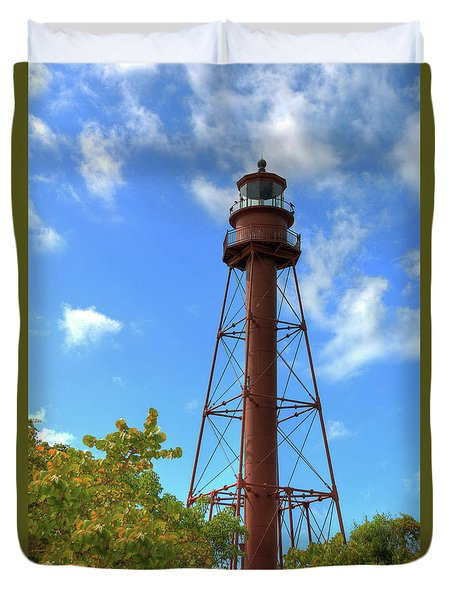 Duvet Cover featuring the digital art Point Ybel Lighthouse by Sharon Batdorf