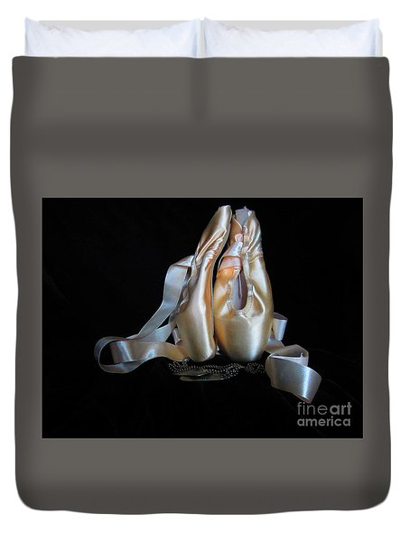 Duvet Cover featuring the photograph Pointe Shoes And Dog Tags2 by Laurianna Taylor
