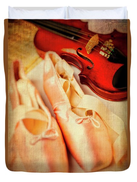 Pointe Shoes And Violin Duvet Cover by Garry Gay