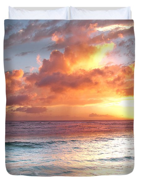 Poipu Beach Sunset Duvet Cover by Roger Mullenhour