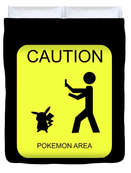 Duvet Cover featuring the digital art Pokemon Area by Shane Bechler