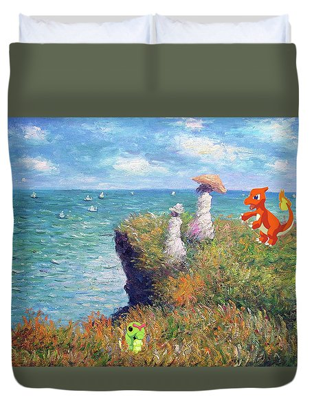 Duvet Cover featuring the digital art Pokemonet Seaside by Greg Sharpe
