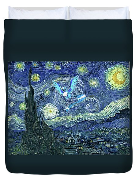Duvet Cover featuring the digital art Pokevangogh Starry Night by Greg Sharpe