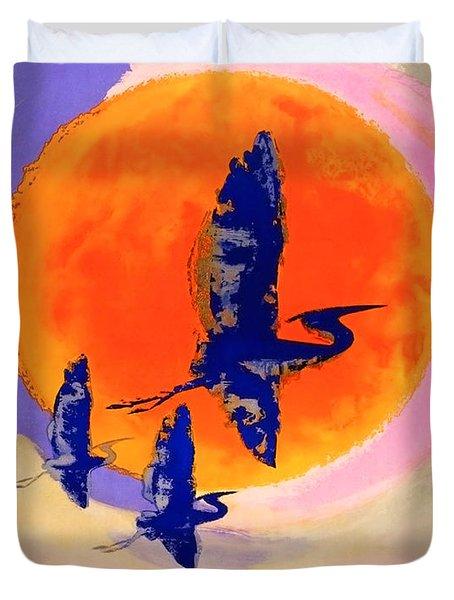 Poland, Flying Storks On The Sun, Travel Poster Duvet Cover