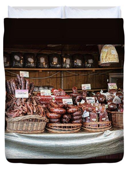 Poland Meat Market Duvet Cover