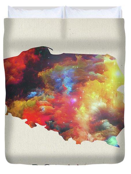 Poland Watercolor Map Duvet Cover