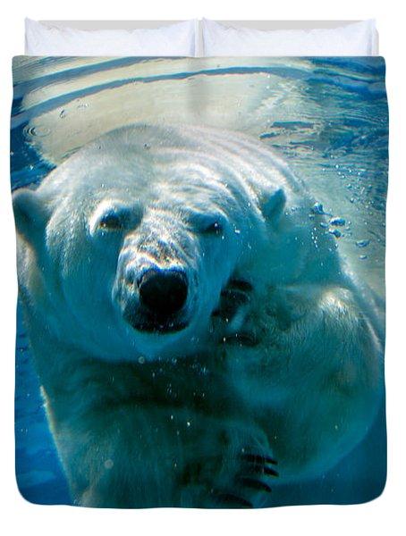 Duvet Cover featuring the photograph Polar Bear Contemplating Dinner by John Haldane