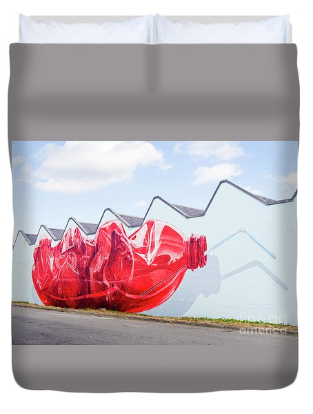 Duvet Cover featuring the photograph Polar Bear In A Coke Bottle by Chris Dutton