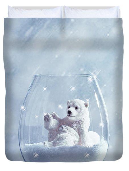 Polar Bear In Snow Globe Duvet Cover