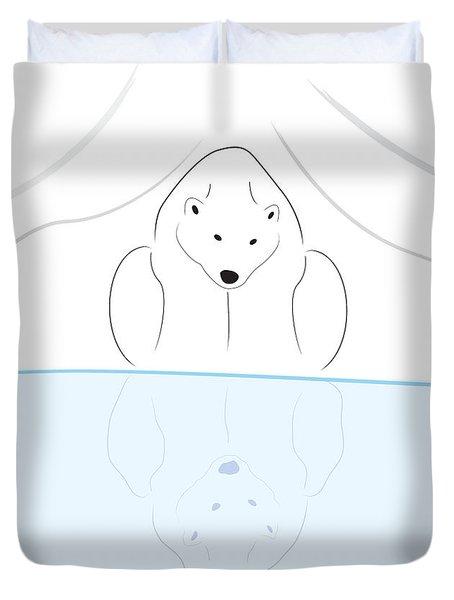 Polar Bear Reflection Duvet Cover
