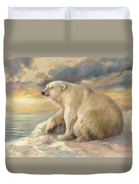 Duvet Cover featuring the painting Polar Bear Rests On The Ice - Arctic Alaska by Svitozar Nenyuk
