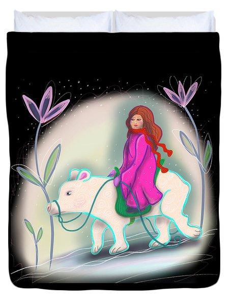 Duvet Cover featuring the digital art Polar Bear Rider by Marti McGinnis