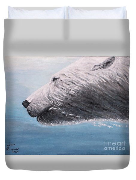 Duvet Cover featuring the painting Polar Bear Splash by Judy Kirouac