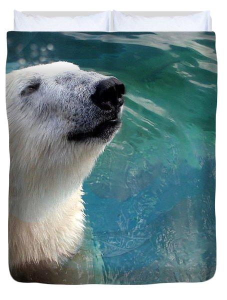 Polar Bear Up Close Duvet Cover