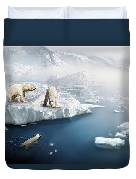 Duvet Cover featuring the digital art Polar Bears by Thanh Thuy Nguyen