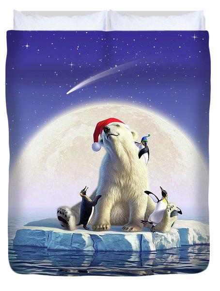 Polar Season Greetings Duvet Cover