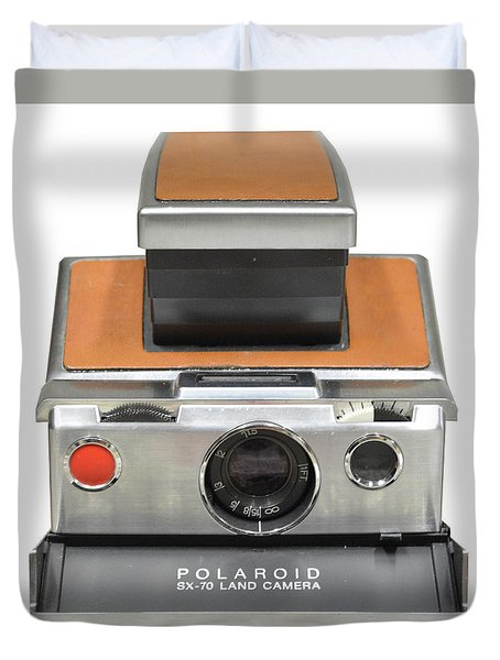 Polaroid Sx70 On White Duvet Cover