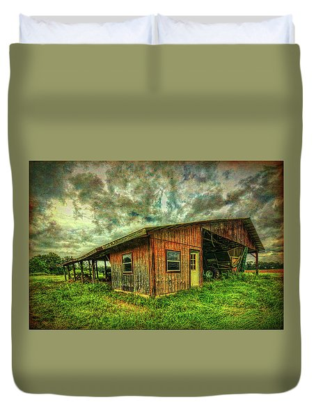 Duvet Cover featuring the photograph Pole Barn by Lewis Mann