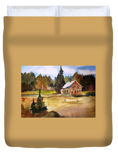 Polebridge Mt Cabin Duvet Cover