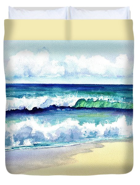Duvet Cover featuring the painting Polhale Waves 3 by Marionette Taboniar