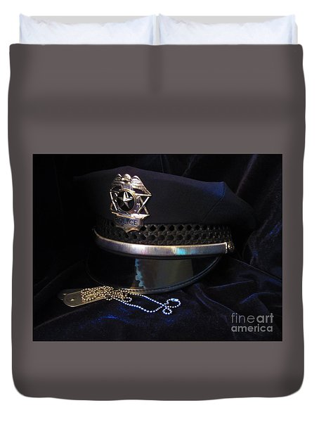 Police And Dog Tags Duvet Cover