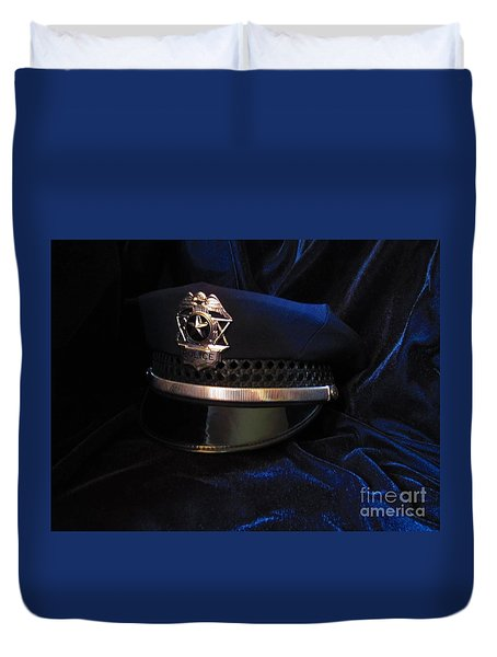 Duvet Cover featuring the photograph Police Hat by Laurianna Taylor