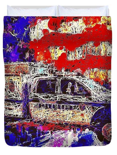 Police Truck Duvet Cover