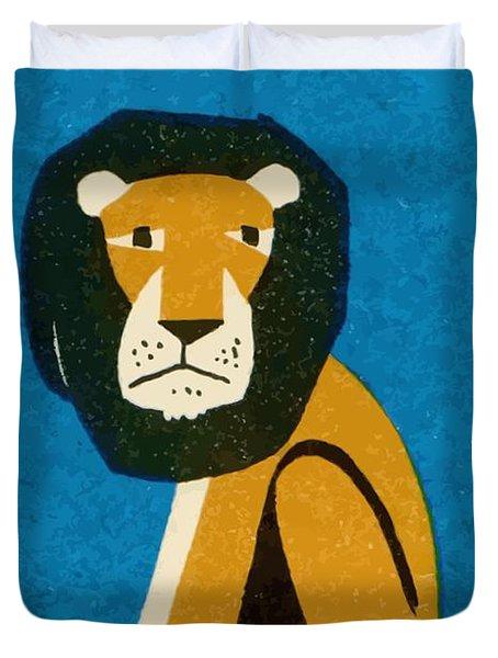 Polish Zoo Lion Matchbox Label Duvet Cover