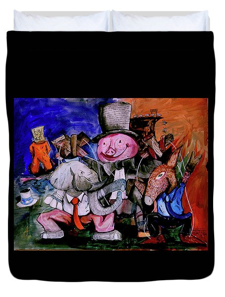 Duvet Cover featuring the painting Political Circus by eVol i