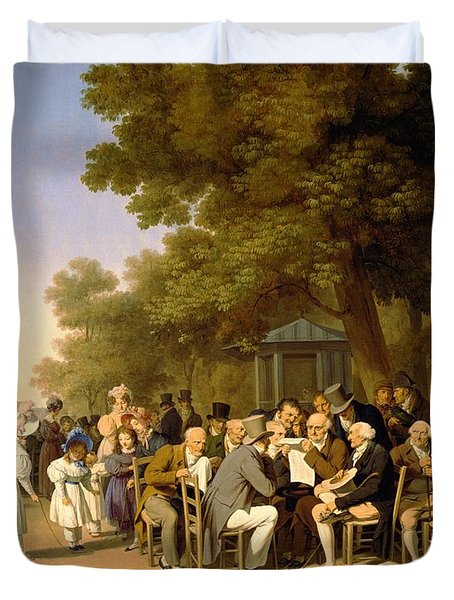 Politicians In The Tuileries Gardens Duvet Cover by Louis Leopold Boilly