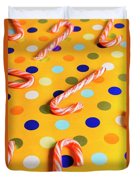 Polka-dot Christmas Canes Duvet Cover