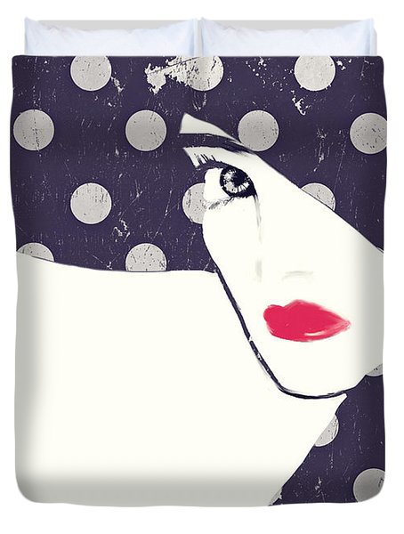 Polka Dot Fashion Hat Duvet Cover by Mindy Sommers