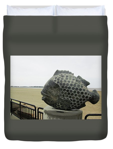 Polka Dotted Fish Sculpture Duvet Cover