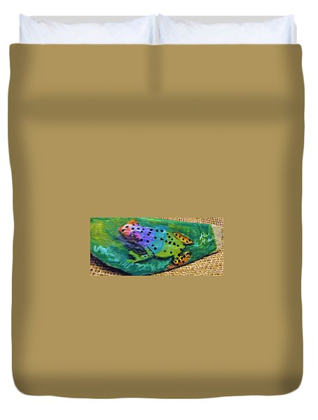 Polka-dotted Rainbow Frog Duvet Cover