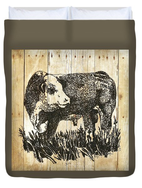 Polled Hereford Bull 11 Duvet Cover by Larry Campbell
