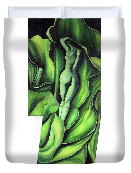 Duvet Cover featuring the painting Pollination by Fei A