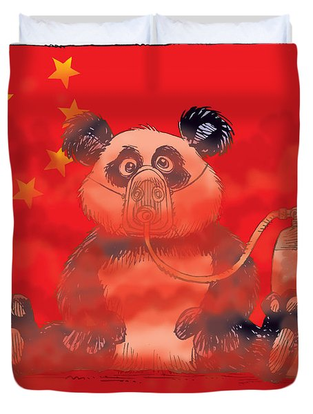 Pollution In China Duvet Cover