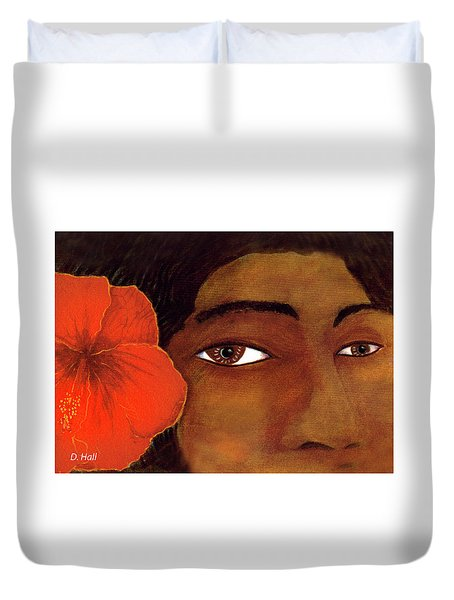 Polynesian Girl #67 Duvet Cover by Donald k Hall